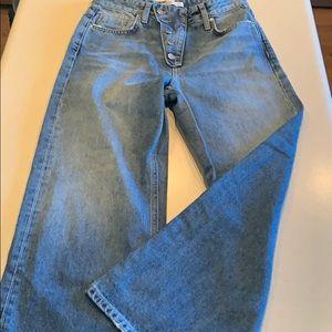 Cropped wide leg Zara jeans size 2 Button zip fly